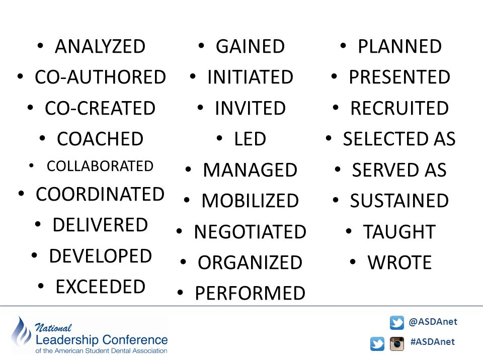 #ASDAnet @ASDAnet Power verbs ANALYZED CO-AUTHORED CO-CREATED COACHED COLLABORATED COORDINATED DELIVERED DEVELOPED EXCEEDED GAINED INITIATED INVITED LED MANAGED MOBILIZED NEGOTIATED ORGANIZED PERFORMED PLANNED PRESENTED RECRUITED SELECTED AS SERVED AS SUSTAINED TAUGHT WROTE
