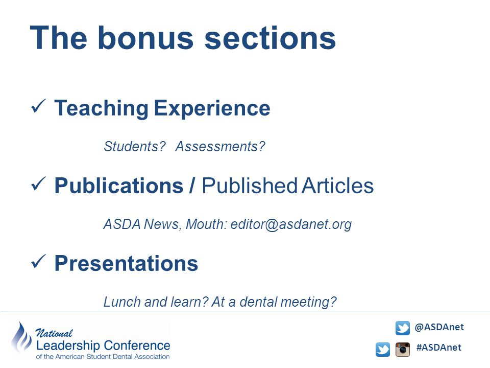 #ASDAnet @ASDAnet The bonus sections Teaching Experience Students.