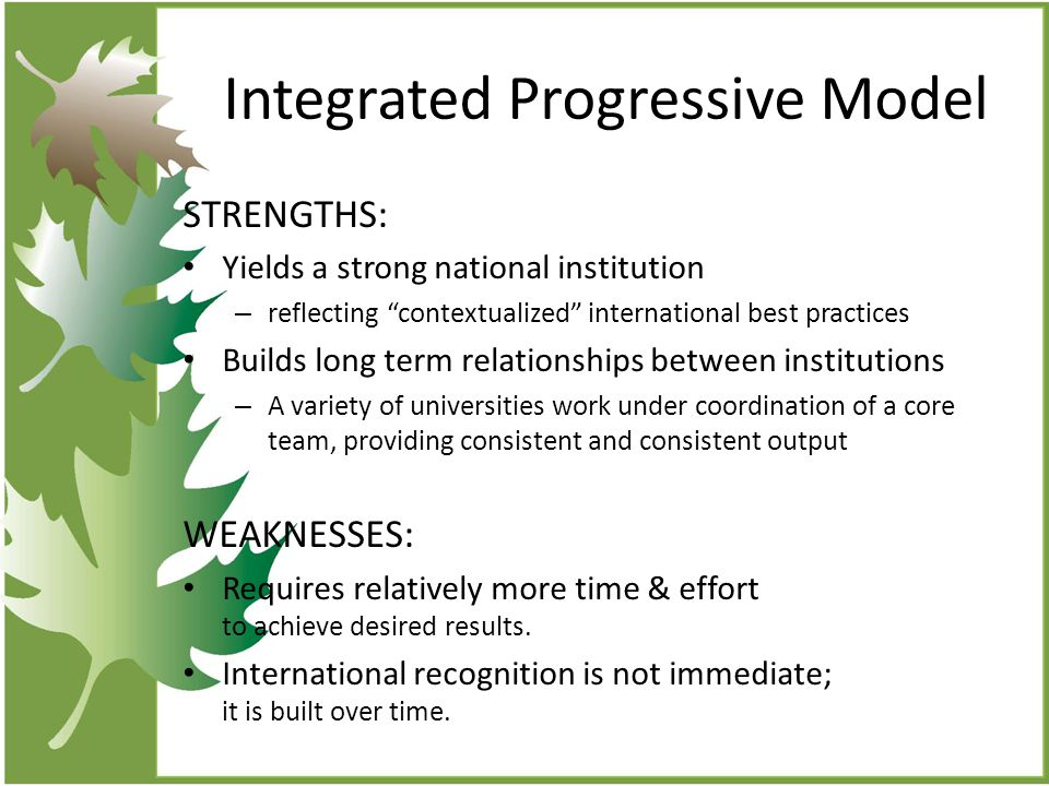 Integrated Progressive Model STRENGTHS: Yields a strong national institution – reflecting contextualized international best practices Builds long term relationships between institutions – A variety of universities work under coordination of a core team, providing consistent and consistent output WEAKNESSES: Requires relatively more time & effort to achieve desired results.