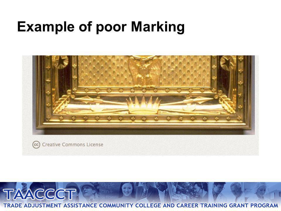 Example of poor Marking