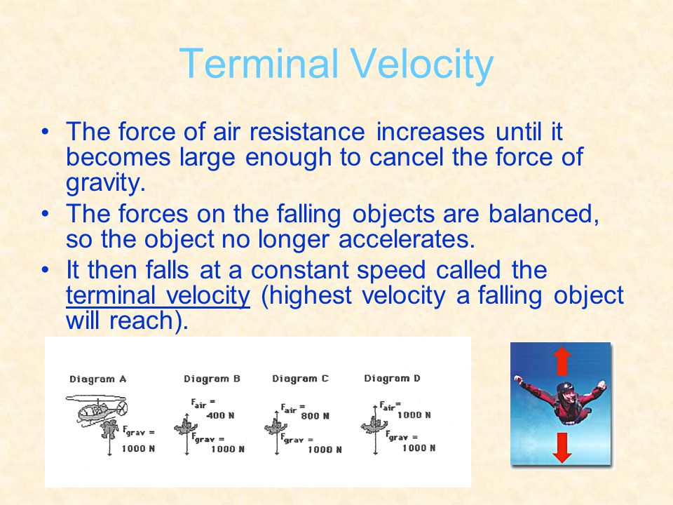 Terminal Velocity The force of air resistance increases until it becomes large enough to cancel the force of gravity. The forces on the falling object