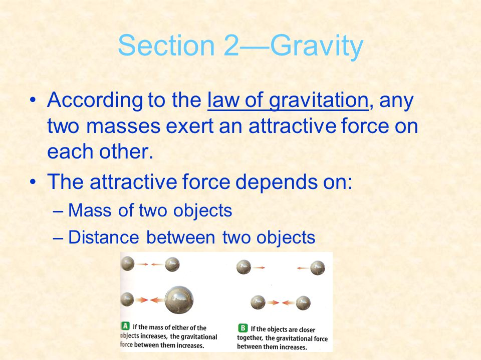 Section 2—Gravity According to the law of gravitation, any two masses exert an attractive force on each other. The attractive force depends on: –Mass