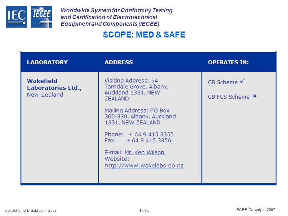 Worldwide System for Conformity Testing and Certification of Electrotechnical Equipment and Components (IECEE) IECEE Copyright 2007 CB Scheme Breakfast – 2007 16/74 SCOPE: MEAS & OFF