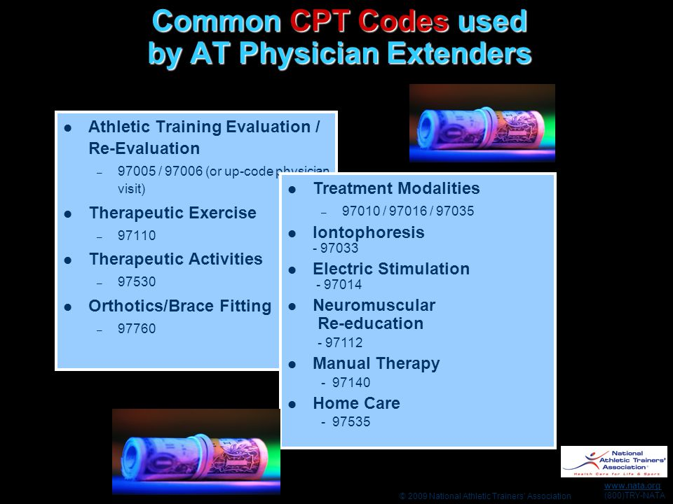 © 2009 National Athletic Trainers' Association www.nata.org (800)TRY-NATA Common CPT Codes used by AT Physician Extenders Athletic Training Evaluation