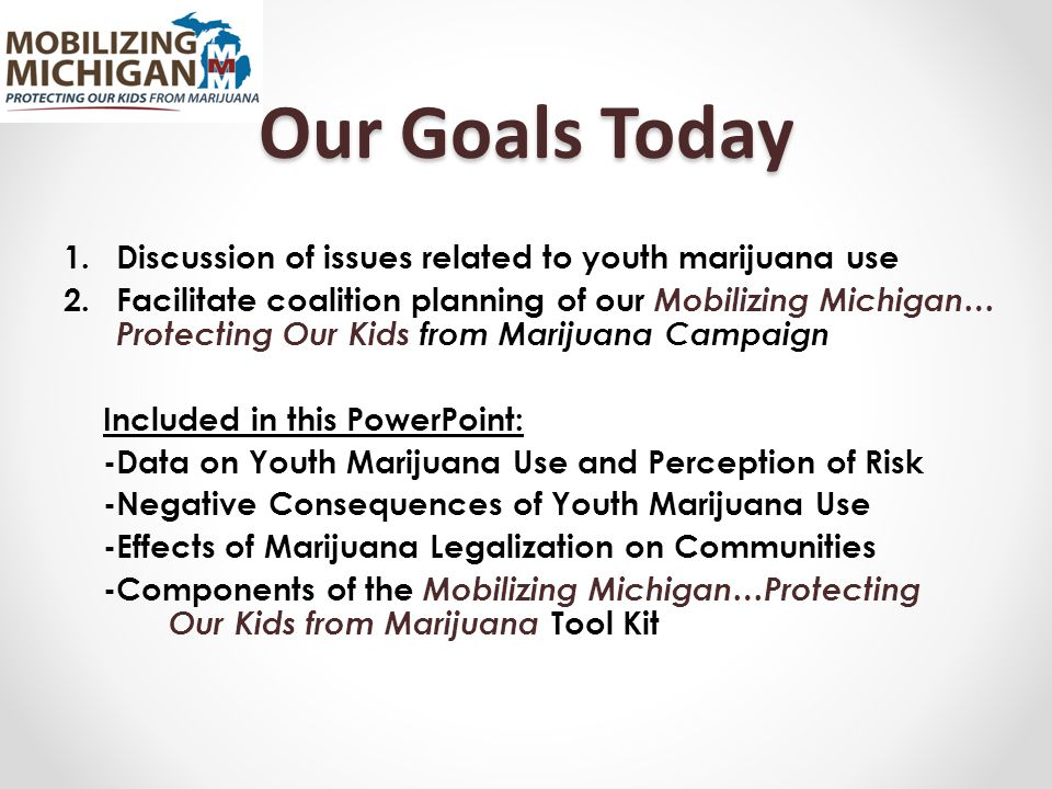 Our Goals Today 1.Discussion of issues related to youth marijuana use 2.Facilitate coalition planning of our Mobilizing Michigan… Protecting Our Kids