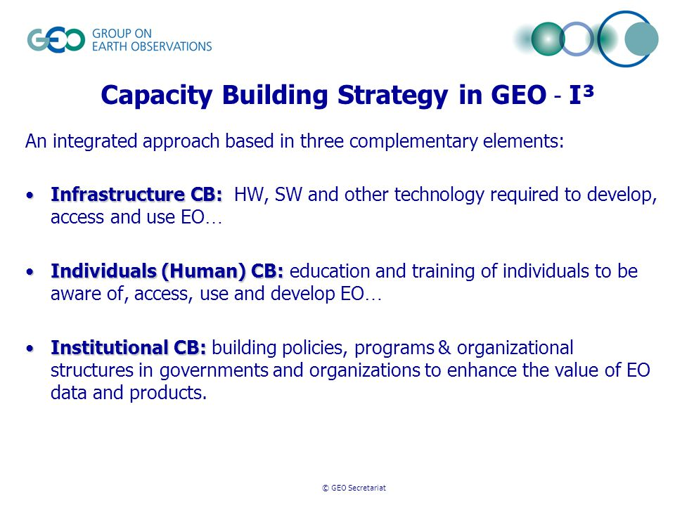 © GEO Secretariat Capacity Building Strategy in GEO - I³ An integrated approach based in three complementary elements: Infrastructure CB:Infrastructure CB: HW, SW and other technology required to develop, access and use EO … Individuals (Human) CB:Individuals (Human) CB: education and training of individuals to be aware of, access, use and develop EO … Institutional CB:Institutional CB: building policies, programs & organizational structures in governments and organizations to enhance the value of EO data and products.