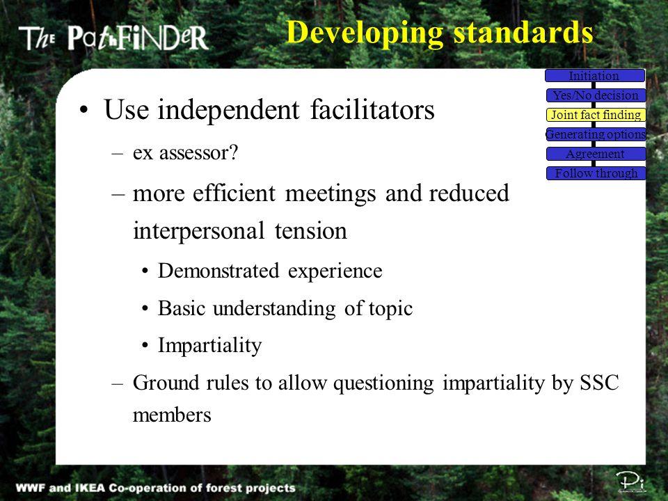 Developing standards Use independent facilitators –ex assessor.