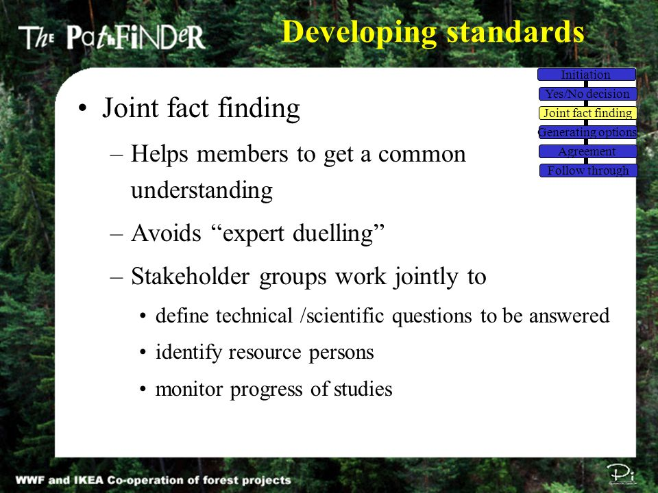 """Developing standards Joint fact finding –Helps members to get a common understanding –Avoids """"expert duelling"""" –Stakeholder groups work jointly to def"""
