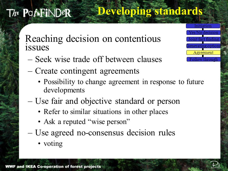 Developing standards Reaching decision on contentious issues –Seek wise trade off between clauses –Create contingent agreements Possibility to change