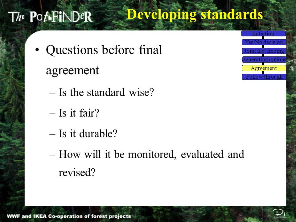 Developing standards Questions before final agreement –Is the standard wise? –Is it fair? –Is it durable? –How will it be monitored, evaluated and rev