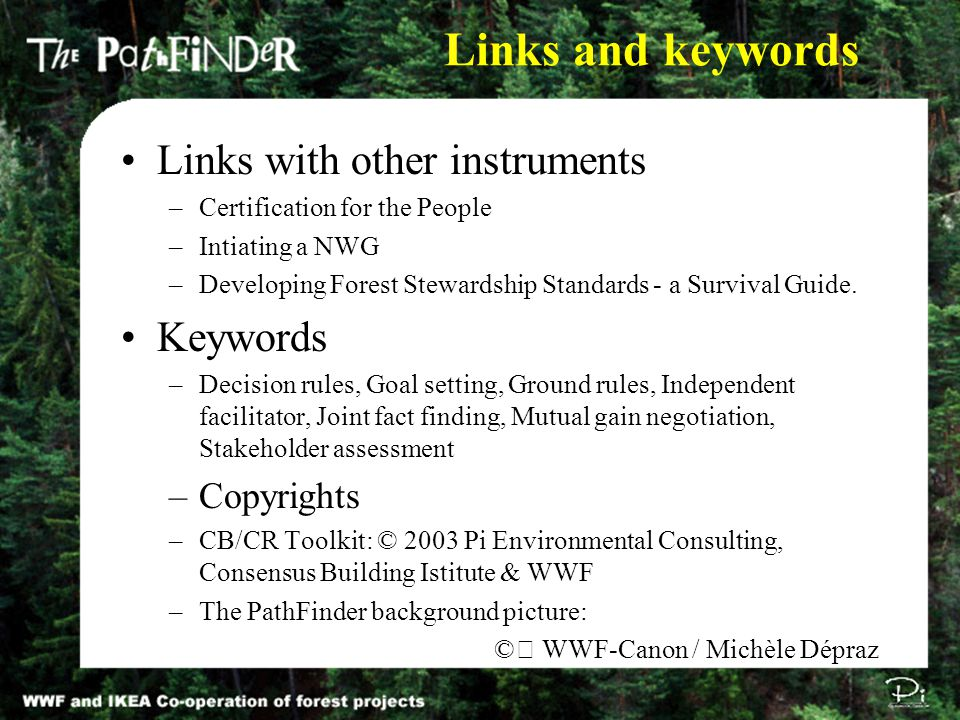 Links and keywords Links with other instruments –Certification for the People –Intiating a NWG –Developing Forest Stewardship Standards - a Survival Guide.