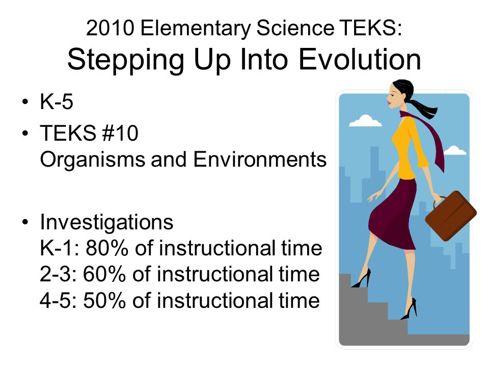 2010 Elementary Science TEKS: Stepping Up Into Evolution K-5 TEKS #10 Organisms and Environments Investigations K-1: 80% of instructional time 2-3: 60% of instructional time 4-5: 50% of instructional time
