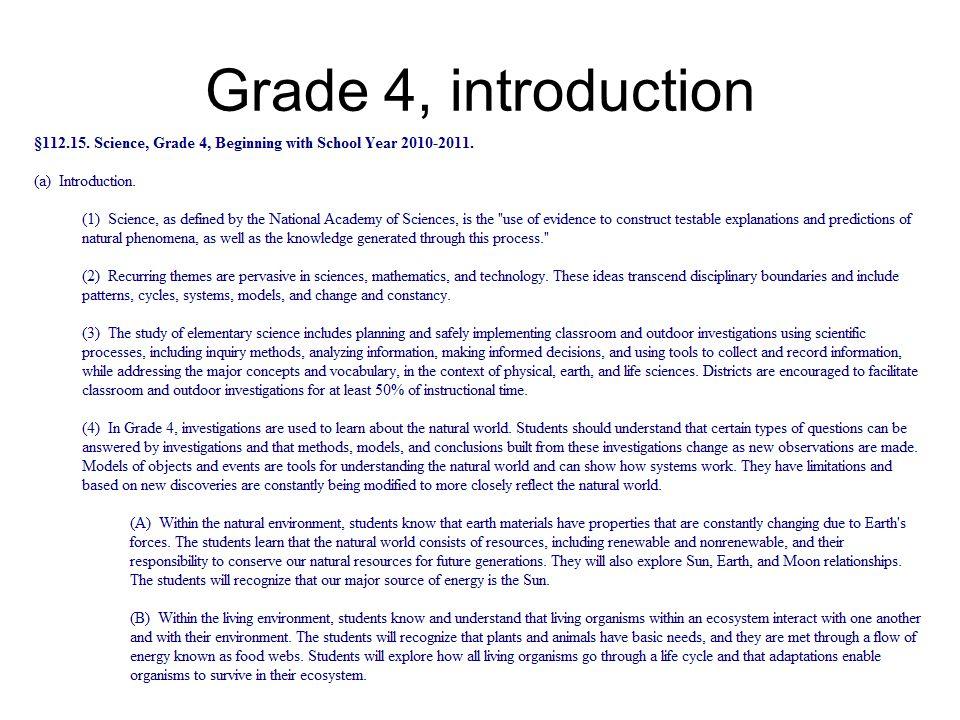 Grade 4, introduction