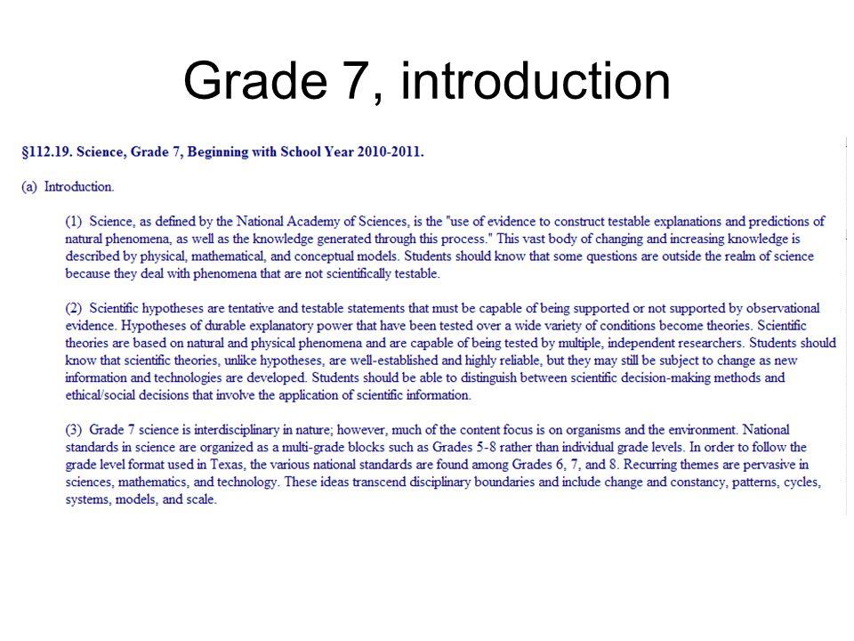 Grade 7, introduction