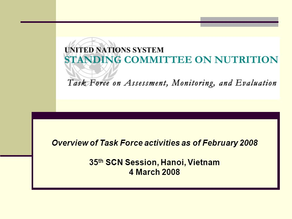 Overview of Task Force activities as of February 2008 35 th SCN Session, Hanoi, Vietnam 4 March 2008