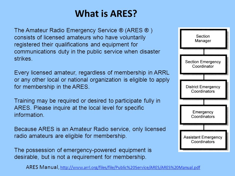 The Amateur Radio Emergency Service ® (ARES ® ) consists of licensed amateurs who have voluntarily registered their qualifications and equipment for communications duty in the public service when disaster strikes.