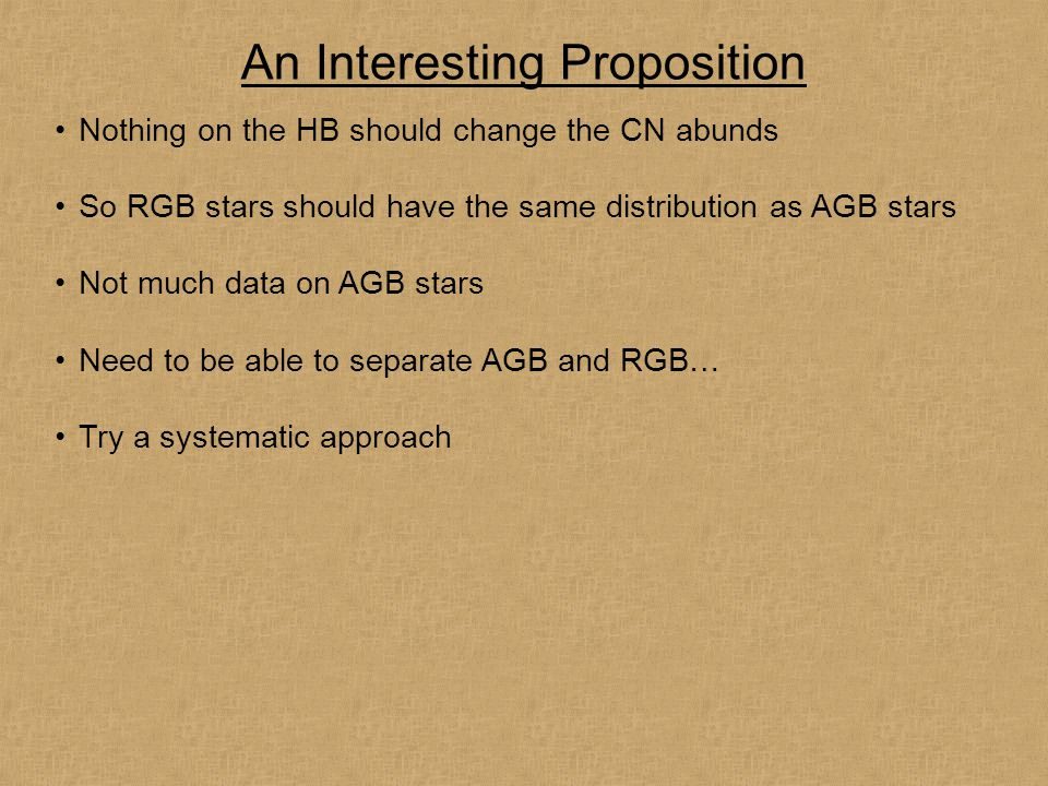 An Interesting Proposition Nothing on the HB should change the CN abunds So RGB stars should have the same distribution as AGB stars Not much data on AGB stars Need to be able to separate AGB and RGB… Try a systematic approach