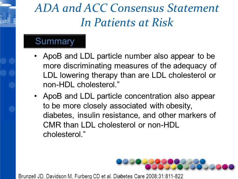© 2010 23 ADA and ACC Consensus Statement In Patients at Risk ApoB and LDL particle number also appear to be more discriminating measures of the adequ