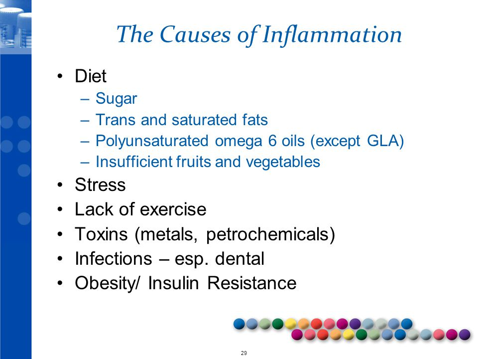 © 2010 29 The Causes of Inflammation Diet –Sugar –Trans and saturated fats –Polyunsaturated omega 6 oils (except GLA) –Insufficient fruits and vegetables Stress Lack of exercise Toxins (metals, petrochemicals) Infections – esp.
