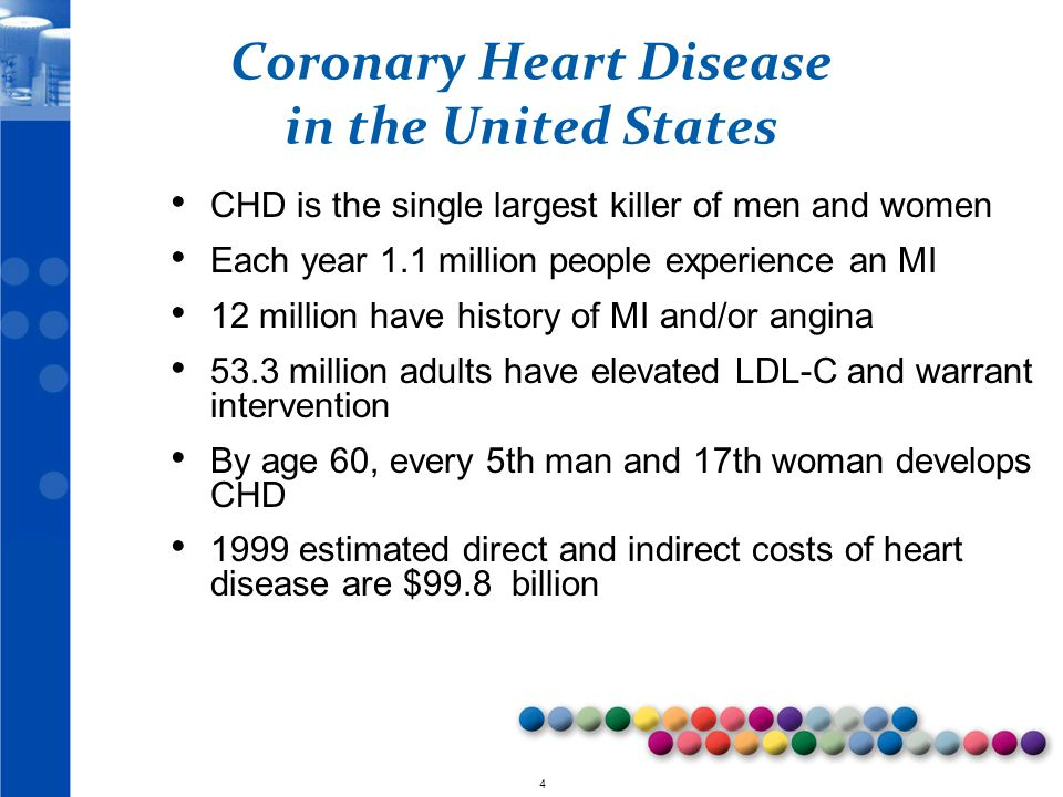 © 2010 4 Coronary Heart Disease in the United States CHD is the single largest killer of men and women Each year 1.1 million people experience an MI 12 million have history of MI and/or angina 53.3 million adults have elevated LDL-C and warrant intervention By age 60, every 5th man and 17th woman develops CHD 1999 estimated direct and indirect costs of heart disease are $99.8 billion