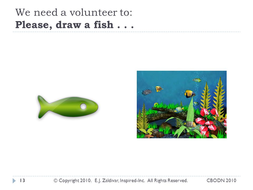 We need a volunteer to: Please, draw a fish...13© Copyright 2010.