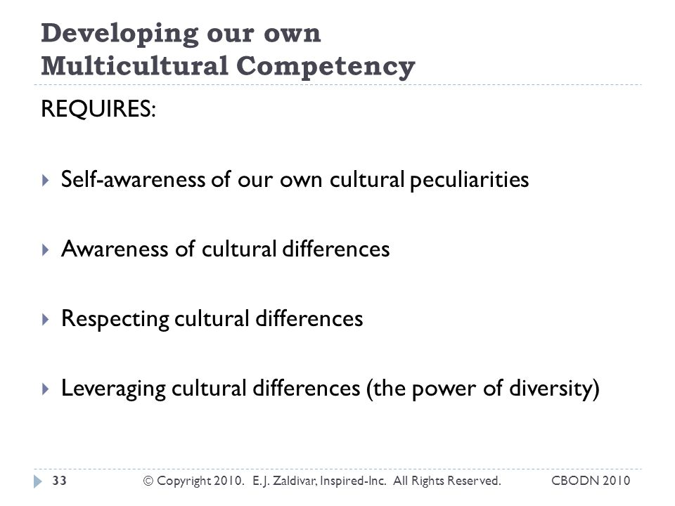 Developing our own Multicultural Competency REQUIRES:  Self-awareness of our own cultural peculiarities  Awareness of cultural differences  Respecting cultural differences  Leveraging cultural differences (the power of diversity) 33© Copyright 2010.