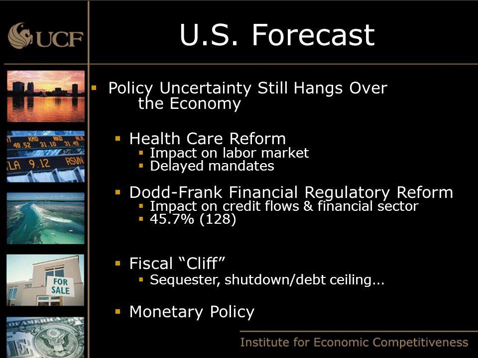 U.S. Forecast  Policy Uncertainty Still Hangs Over the Economy  Health Care Reform  Impact on labor market  Delayed mandates  Dodd-Frank Financia