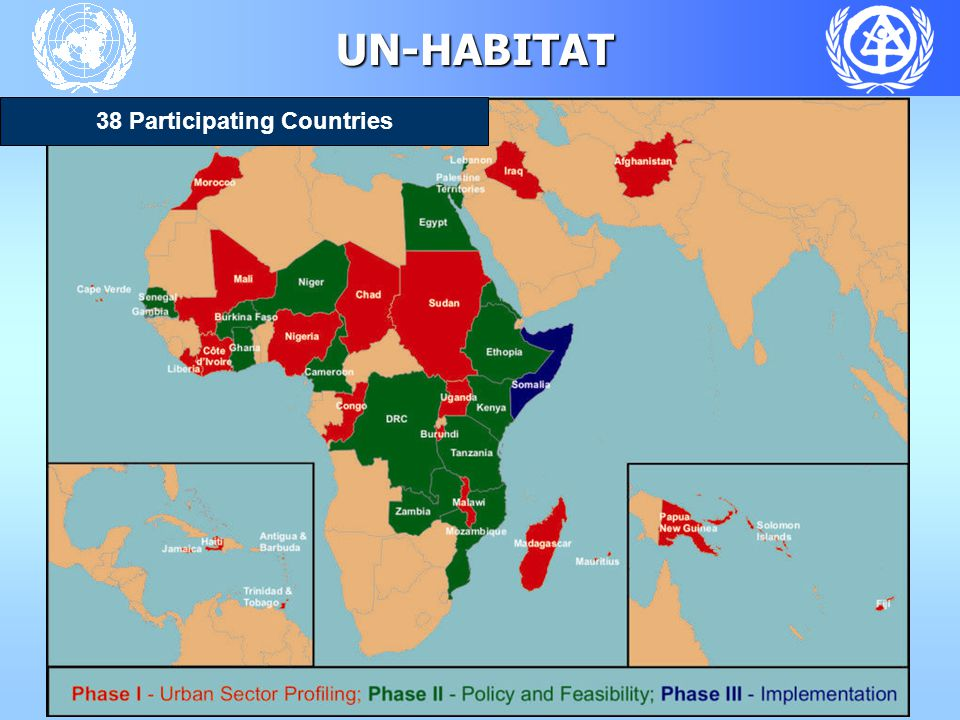 UN-HABITAT - Urban Sector Profiling - Phases Phase 1 City and National Profiles  Local programmes  Local Action plans  Project concepts  National programmes Phase 3 Project Implementation  Policy Development  Project implementataion Phase 2 Capacity building, Policy Seminars Feasibility Studies  Capacity Building  Policy Seminars  Project Feasibity studies