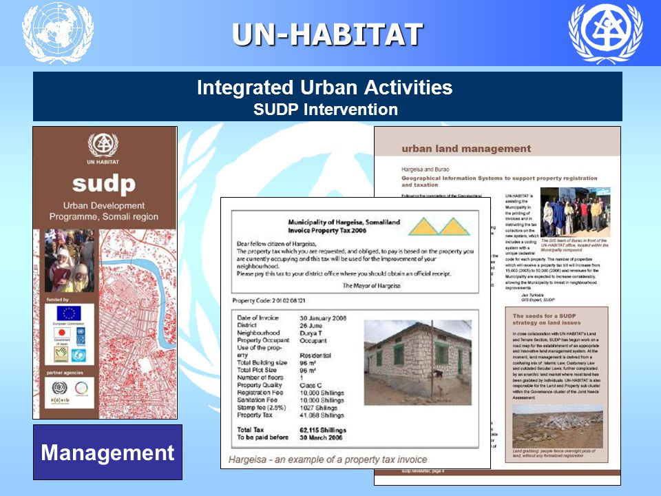 UN-HABITAT Integrated Urban Activities SUDP Intervention Management
