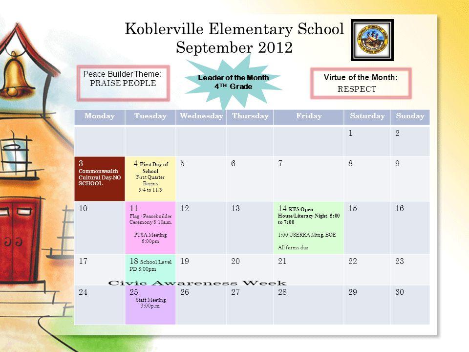 Koblerville Elementary School September 2012 MondayTuesdayWednesdayThursdayFridaySaturdaySunday 12 3 Commonwealth Cultural Day-NO SCHOOL 4 F irst Day of School First Quarter Begins 9/4 to 11/9 56789 1011 Flag / Peacebuilder Ceremony 8:10a.m.