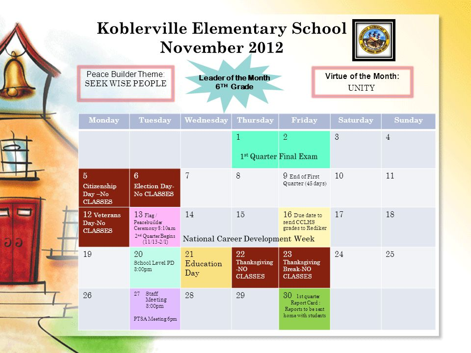 Koblerville Elementary School November 2012 MondayTuesdayWednesdayThursdayFridaySaturdaySunday 1234 5 Citizenship Day –No CLASSES 6 Election Day- No CLASSES 789 End of First Quarter (45 days) 1011 12 Veterans Day-No CLASSES 13 Flag / Peacebuilder Ceremony 8:10a.m 2 nd Quarter Begins (11/13-2/1) 141516 Due date to send CCLHS grades to Rediker 1718 1920 School Level PD 3:00pm 21 Education Day 22 Thanksgiving -NO CLASSES 23 Thanksgiving Break-NO CLASSES 2425 26 27Staff Meeting 3:00pm PTSA Meeting 6pm 282930 1st quarter Report Card : Reports to be sent home with students Peace Builder Theme: SEEK WISE PEOPLE Leader of the Month 6 TH Grade Virtue of the Month: UNITY
