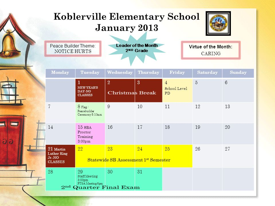 Koblerville Elementary School February 2013 MondayTuesdayWednesdayThursdayFridaySaturdaySunday 1 End of 2 nd Quarter (45 days) 23 4 3 rd Quarter Begins (2/4-4/16) 5 Flag / Peacebuilder Ceremony 8:10a.m 678 Due date to send CCLHS grades to Rediker 910 1112131415 2 nd Quarter Report card to be sent home with students 1617 18 President Day- NO CLASSES 19 School Level PD 3:00pm 2021222324 2526 Staff Meeting 3:00pm PTSA Meeting 6pm 2728 Peace Builder Theme: RIGHT WRONGS Leader of the Month 1 ST Grade Virtue of the Month: COURAGE
