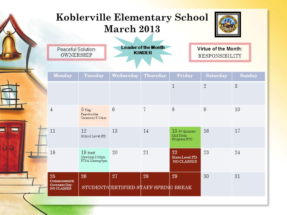 Koblerville Elementary School March 2013 MondayTuesdayWednesdayThursdayFridaySaturdaySunday 123 45 Flag / Peacebuilder Ceremony 8:10a.m 678910 1112 School Level PD 131415 3 rd Quarter Mid Term Progress PTC 1617 1819 Staff Meeting 3:00pm PTSA Meeting 6pm 202122 State Level PD- NO CLASSES 2324 25 Commonwealth Covenant Day- NO CLASSES 262728293031 Peaceful Solution: OWNERSHIP Leader of the Month KINDER Virtue of the Month: RESPONSIBILITY