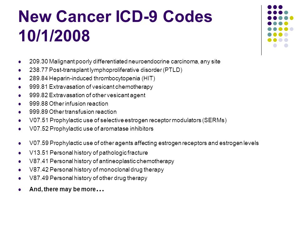 New Cancer ICD-9 Codes 10/1/2008 209.30 Malignant poorly differentiated neuroendocrine carcinoma, any site 238.77 Post-transplant lymphoproliferative