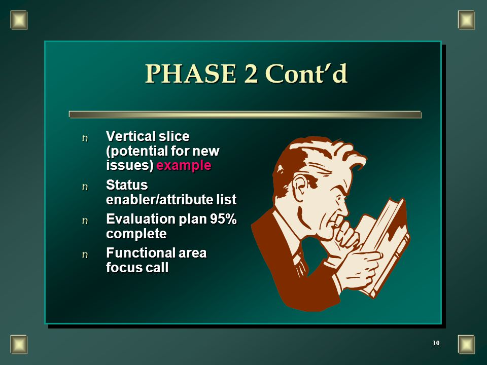 10 PHASE 2 Cont'd n Vertical slice (potential for new issues) example n Status enabler/attribute list n Evaluation plan 95% complete n Functional area focus call