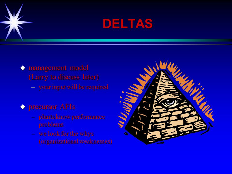 DELTAS u management model (Larry to discuss later) –your input will be required u precursor AFIs –plants know performance problems –we look for the whys (organizational weaknesses)