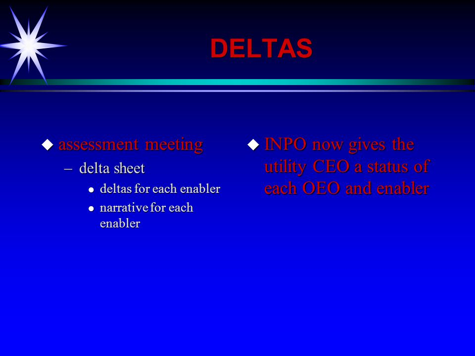 DELTAS u assessment meeting –delta sheet l deltas for each enabler l narrative for each enabler u INPO now gives the utility CEO a status of each OEO and enabler