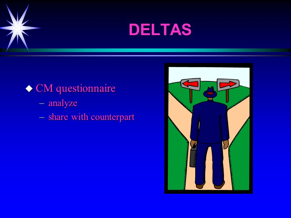 DELTAS u CM questionnaire –analyze –share with counterpart