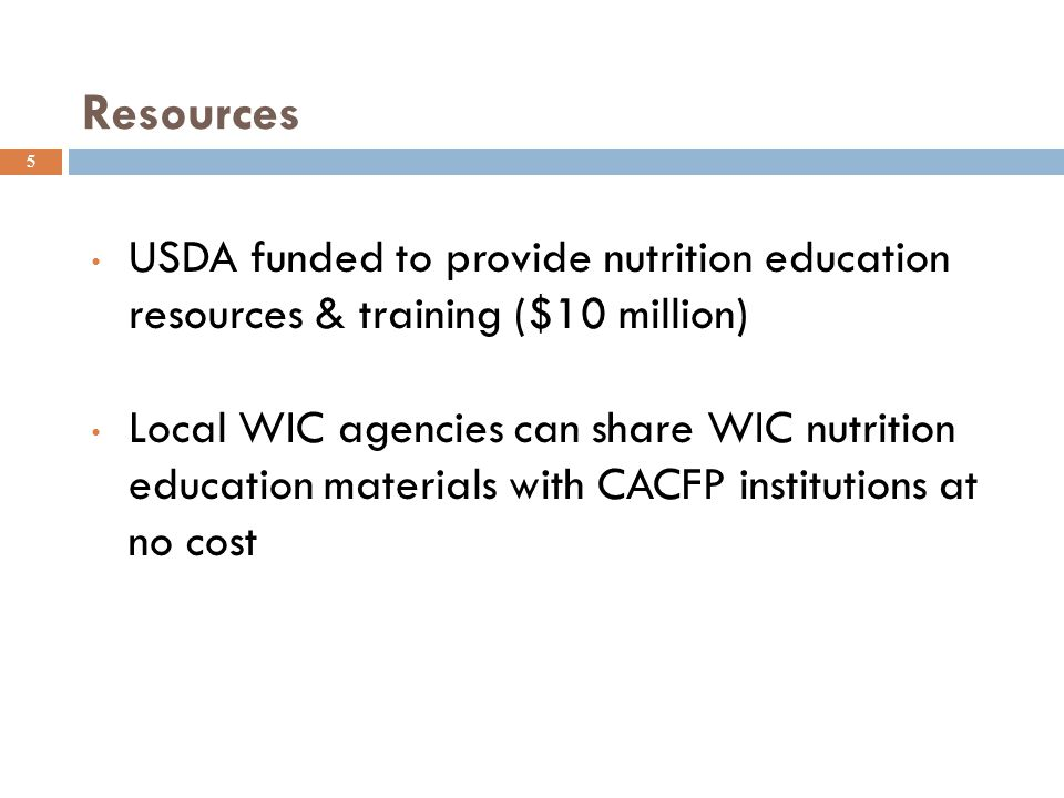 LIST THE TOP FIVE CHANGES YOU WOULD LIKE TO SEE IN THE 2015 CHILD NUTRITION REAUTHORIZATION National CACFP Professionals Association