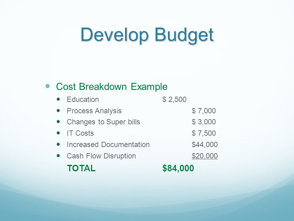 Develop Budget Cost Breakdown Example Education$ 2,500 Process Analysis$ 7,000 Changes to Super bills$ 3,000 IT Costs$ 7,500 Increased Documentation$4