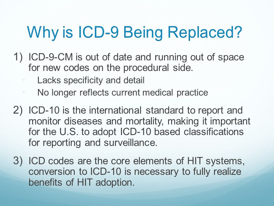 Reimbursement Issues With ICD-9.