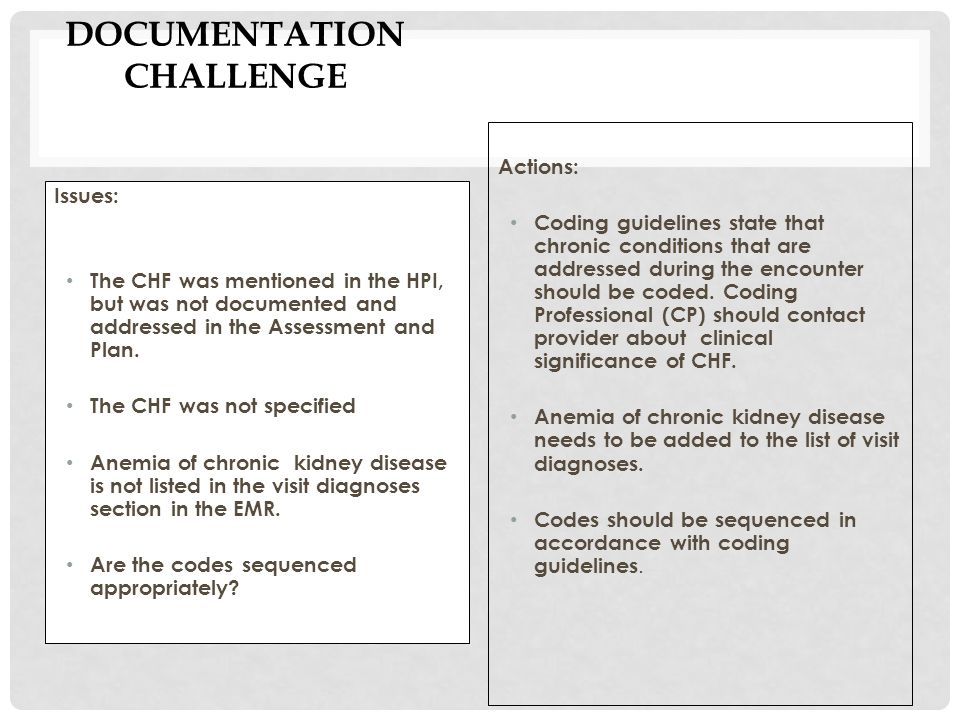 DOCUMENTATION CHALLENGE Issues: The CHF was mentioned in the HPI, but was not documented and addressed in the Assessment and Plan.