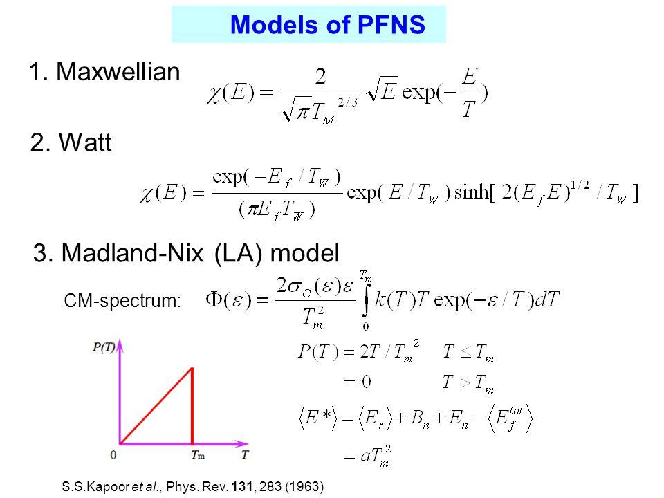 CM-spectrum: 1. Maxwellian 2. Watt 3.