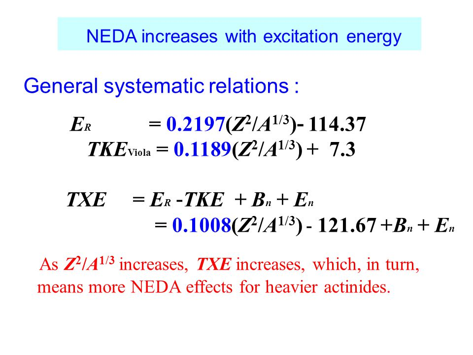 NEDA increases with excitation energy General systematic relations : E R = 0.2197(Z 2 /A 1/3 ) - 114.37 TKE Viola = 0.1189(Z 2 /A 1/3 ) + 7.3 TXE = E R - TKE + B n + E n = 0.1008(Z 2 /A 1/3 ) - 121.67 +B n + E n As Z 2 /A 1/3 increases, TXE increases, which, in turn, means more NEDA effects for heavier actinides.