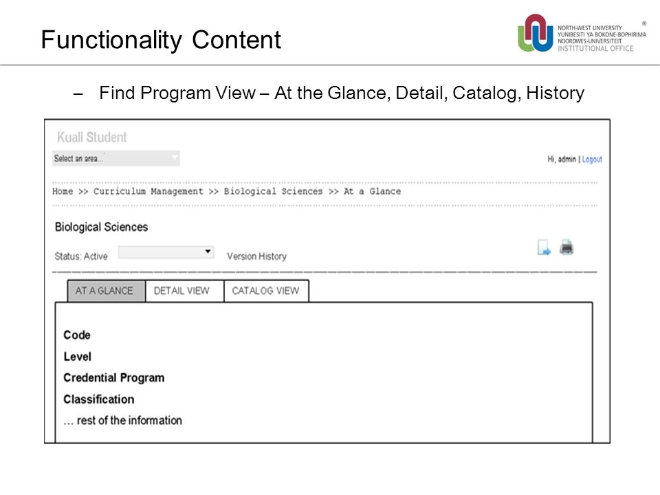 Functionality Content – Find Program View – At the Glance, Detail, Catalog, History