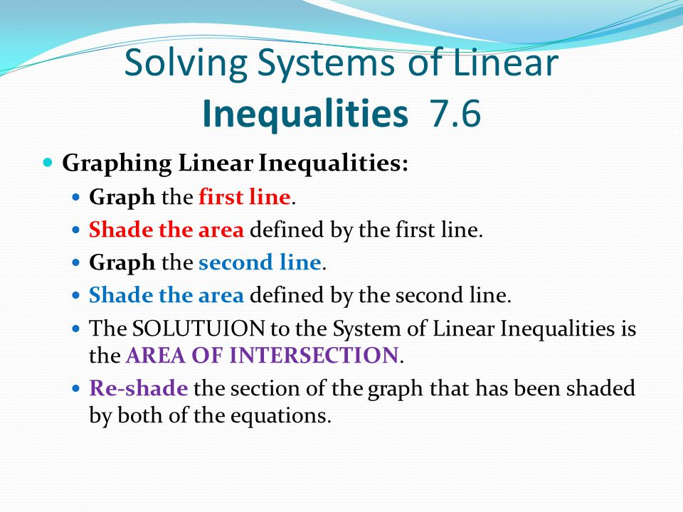 Solving Systems of Linear Inequalities 7.6 Graphing Linear Inequalities: Graph the first line.