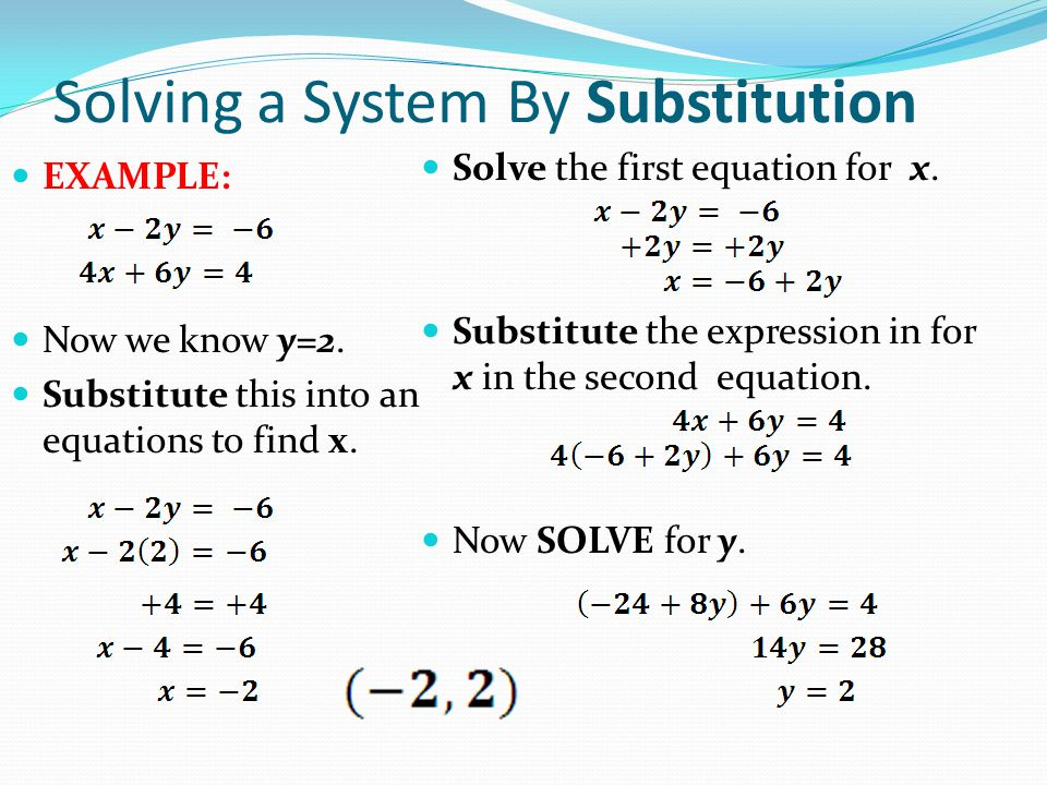 Solving a System By Substitution EXAMPLE: Now we know y=2.
