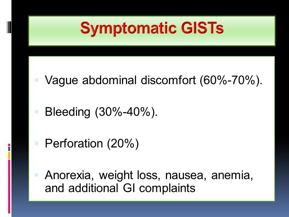  Vague abdominal discomfort (60%-70%).  Bleeding (30%-40%).  Perforation (20%)  Anorexia, weight loss, nausea, anemia, and additional GI complaint