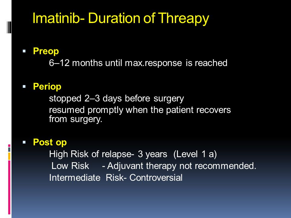 Imatinib- Duration of Threapy  Preop 6–12 months until max.response is reached  Periop stopped 2–3 days before surgery resumed promptly when the pat