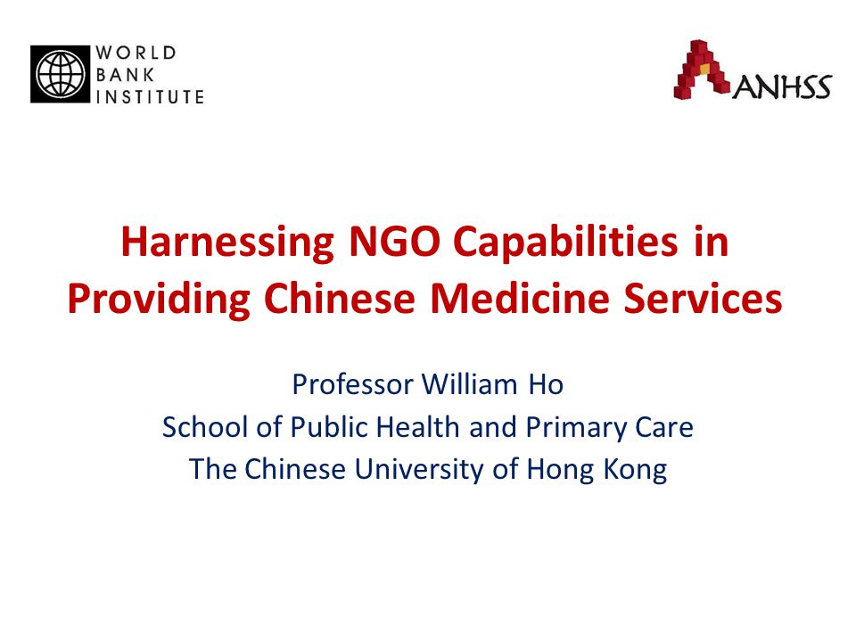 Innovation through NGO Flexibility of ranking and remuneration structure for CM doctors, nurses, dispensers Relation of NGO and Mainland cities is key to recruit top level CM Professors from China NGOs operate services outside the funded scope (e.g.